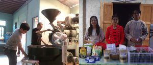 左:TOKYO COFEE&CAFE BARの杉本さん 右:コーヒー生豆を提供してもらったユワンガンのコミュニティの皆さん